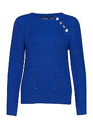Button-Trim Cotton Sweater - PACIFIC ROYAL