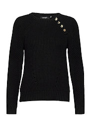 Button-Trim Cotton Sweater - POLO BLACK