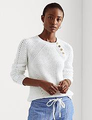 Lauren Ralph Lauren - Button-Trim Cotton Sweater - trøjer - white - 0