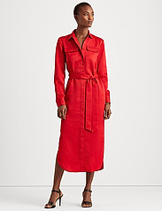 Lauren Ralph Lauren - Sateen Button-Down Shirtdress - skjortekjoler - lipstick red - 0