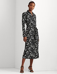Lauren Ralph Lauren - Print Belted Crepe Shirtdress - hverdagskjoler - polo black/white - 0