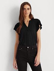 Lauren Ralph Lauren - Jersey Flutter-Sleeve Top - blouses à manches courtes - polo black - 0