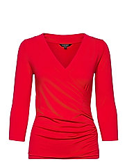 Wrap-Style Jersey Top - LIPSTICK RED