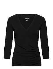 Wrap-Style Jersey Top - POLO BLACK