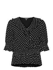 Polka-Dot Jersey Peplum Top - POLO BLACK/WHITE