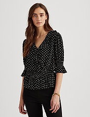 Lauren Ralph Lauren - Polka-Dot Jersey Peplum Top - blouses à manches longues - polo black/white - 0