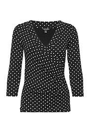 Polka-Dot Wrap-Style Jersey Top - POLO BLACK/WHITE