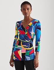 Lauren Ralph Lauren - Wrap-Style Jersey Top - blouses à manches longues - blue multi - 0