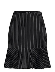 Pinstripe Flounced Ponte Skirt - POLO BLACK/MASCAR