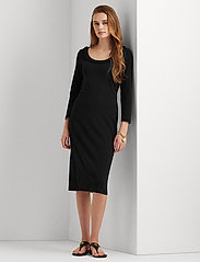 Lauren Ralph Lauren - Ribbed Stretch Cotton Dress - hverdagskjoler - polo black - 0