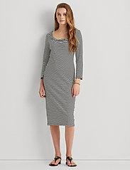 Lauren Ralph Lauren - Striped Stretch Cotton Dress - hverdagskjoler - white/polo black - 0