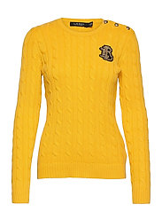 Button-Trim Cable-Knit Sweater - ATHLETIC GOLD