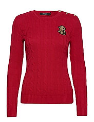 Button-Trim Cable-Knit Sweater - LIPSTICK RED