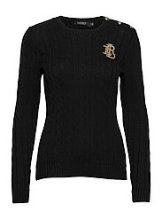 Button-Trim Cable-Knit Sweater - POLO BLACK