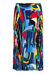 Print Pleated Crepe Skirt - POLO BLACK MULTI