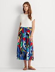 Lauren Ralph Lauren - Print Pleated Crepe Skirt - midinederdele - polo black multi - 0