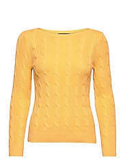 Cable-Knit Boatneck Cotton Sweater - BEACH YELLOW