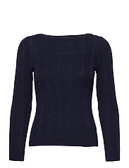 Cable-Knit Boatneck Cotton Sweater - FRENCH NAVY