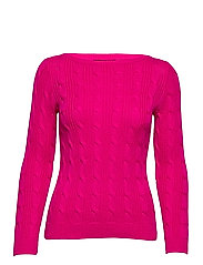 Cable-Knit Boatneck Cotton Sweater - NOUVEAU BRIGHT PI