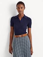 Lauren Ralph Lauren - Rib-Knit Collared Shirt - poloskjorter - french navy - 0