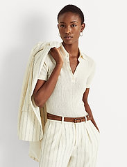 Lauren Ralph Lauren - Rib-Knit Collared Shirt - poloskjorter - mascarpone cream - 0