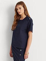 Lauren Ralph Lauren - Pinstripe Ponte Tee - t-shirts - french navy/pale - 0