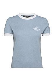 Intarsia-Knit Cotton-Modal Sweater - DUST BLUE/WHITE