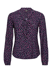 Floral Jersey Tie-Neck Top - FRENCH NAVY MULTI