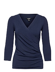 Wrap-Style Jersey Top - FRENCH NAVY