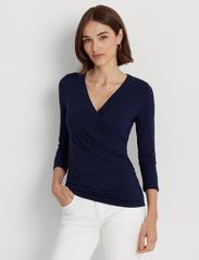 Lauren Ralph Lauren - Wrap-Style Jersey Top - langærmede toppe - french navy - 0