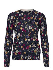 Floral Cotton-Modal Sweater - FRENCH NAVY MULTI