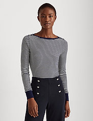 Lauren Ralph Lauren - Striped Snap-Trim Drop-Needle Top - langærmede toppe - french navy/white - 0