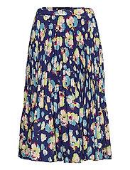 Floral Pleated Georgette Midi Skirt - BLUE MULTI