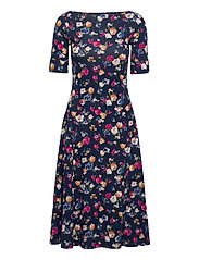 Floral Stretch Cotton Midi Dress - FRENCH NAVY MULTI