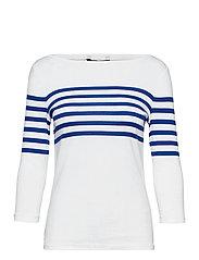 Striped Cotton Boatneck Top - WHITE/ SAPPHIRE S