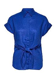 Tie-Front Linen Shirt - SAPPHIRE STAR