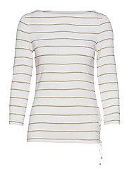 Metallic Striped Cotton Boatneck Top - WHITE/GOLD METAL