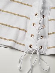 Lauren Ralph Lauren - Metallic Striped Cotton Boatneck Top - hauts à manches longues - white/gold metal - 5