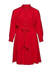 Plus Size Georgette Shirtdress - CRIMSON