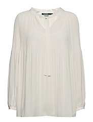 Plus Size Georgette Tie-Neck Top - MASCARPONE CREAM