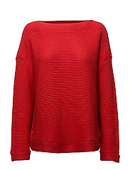 GASSED COTTON-L/S BT NK PULLOVER - TOMATO RED