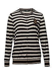 Plus Size Bullion-Patch Cotton Cardigan - POLO BLACK/MASC C