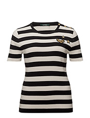 Plus Size Buttoned Striped Top - POLO BLACK/MASC C