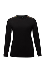 Zipper-Trim Cotton-Blend Top - POLO BLACK
