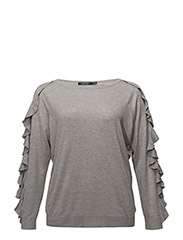 Ruffled Silk-Blend Sweater - STONE GREY HEATHE