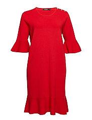 Ruffled Cotton-Blend Dress - CRIMSON