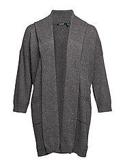 Plus Size Shawl-Collar Cotton-Blend Cardigan - SHADOW GREY HEATH
