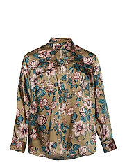 Floral-Print Button-Down Shirt - OLIVE MULTI