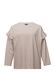 LT WT PLAIT CTN JSY-CREWNECK TOP - DUSTY PINK