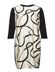 Plus Size Silk-Printed Ponte Dress - POLO BLACK